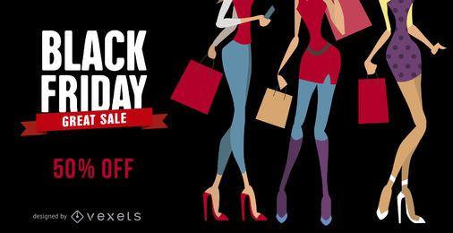 Banner de rebajas de moda de viernes negro
