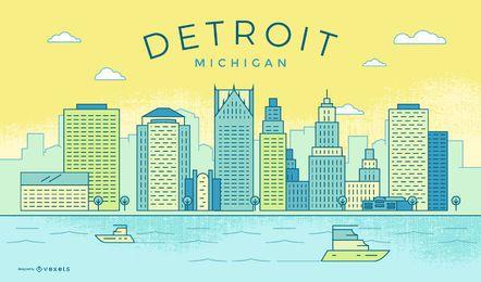 Skyline colorida do curso de Detroit