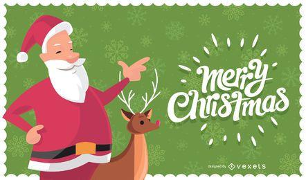 Tarjeta navideña con santa claus y reno.