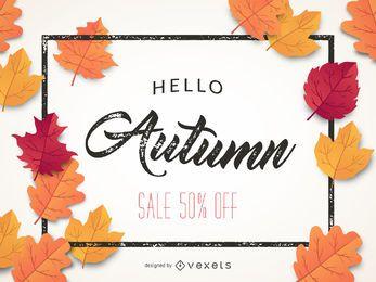 Banner de venta de otoño 50% de descuento.