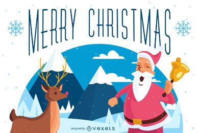 Illustrated Merry Christmas greeting card