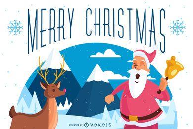 Tarjeta de felicitación de Navidad ilustrada ilustrada