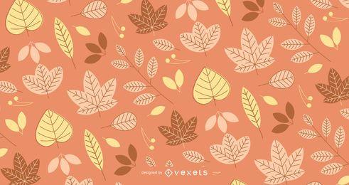 Padrão de outono com folhas ilustradas
