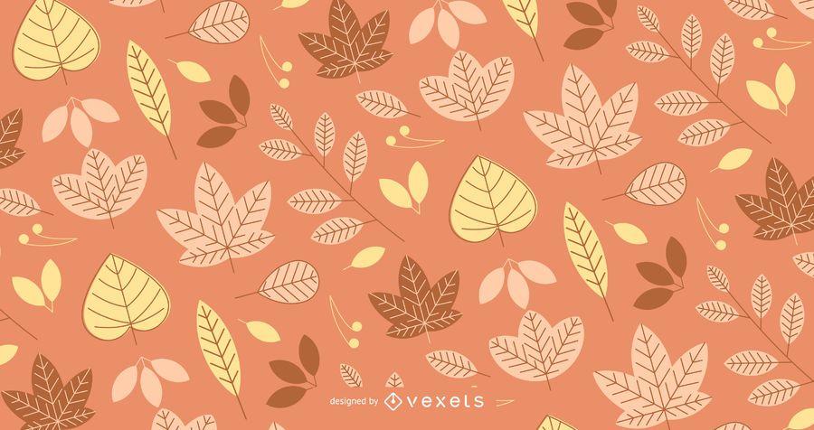 Outono padrão com folhas ilustradas