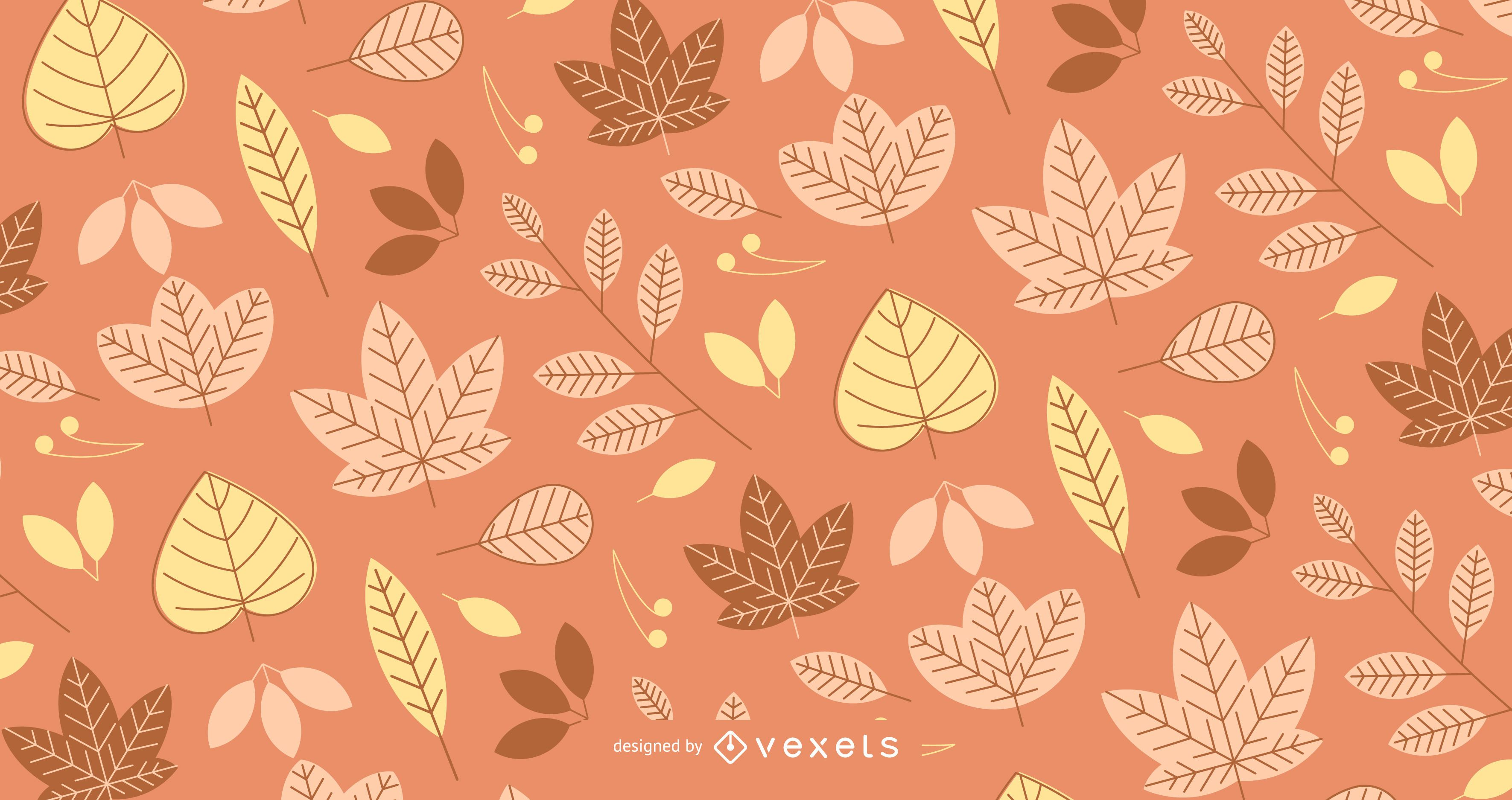 Autumn pattern with illustrated leaves