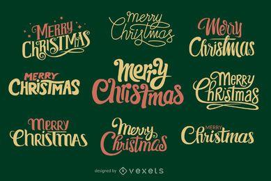 Colección de etiquetas de Navidad escritas a mano