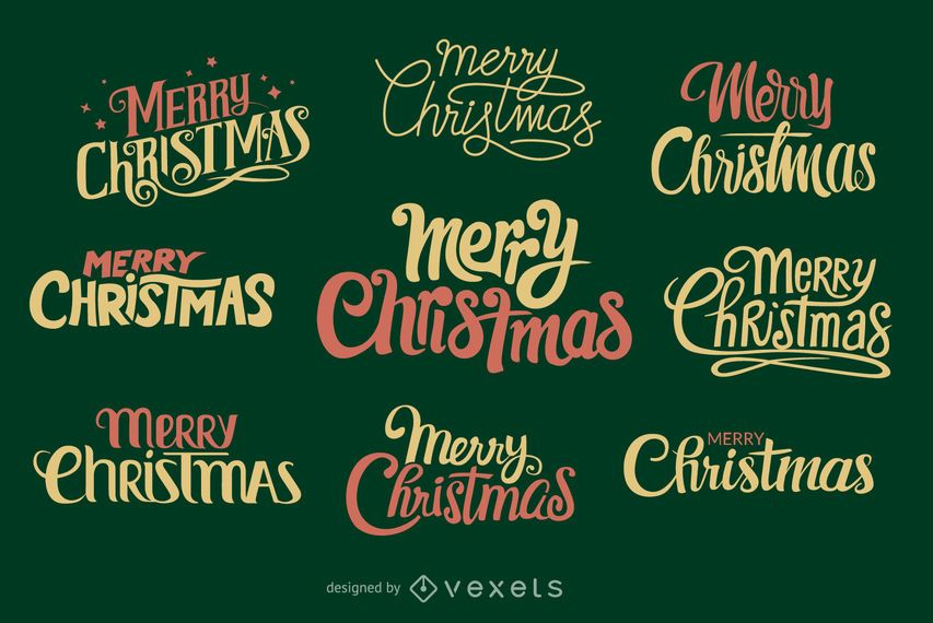 Collection of handwritten Christmas labels