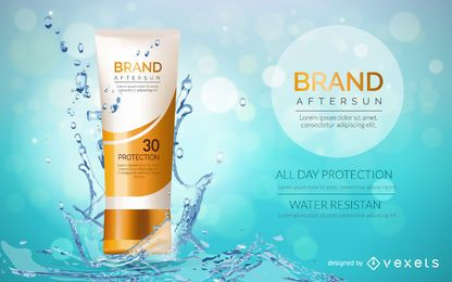 Cosmetic sunscreen packaging mockup