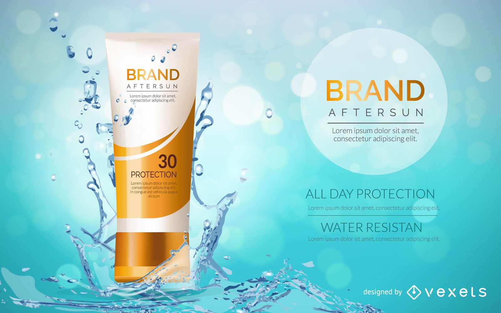Cosmetic sunscreen packaging mockup