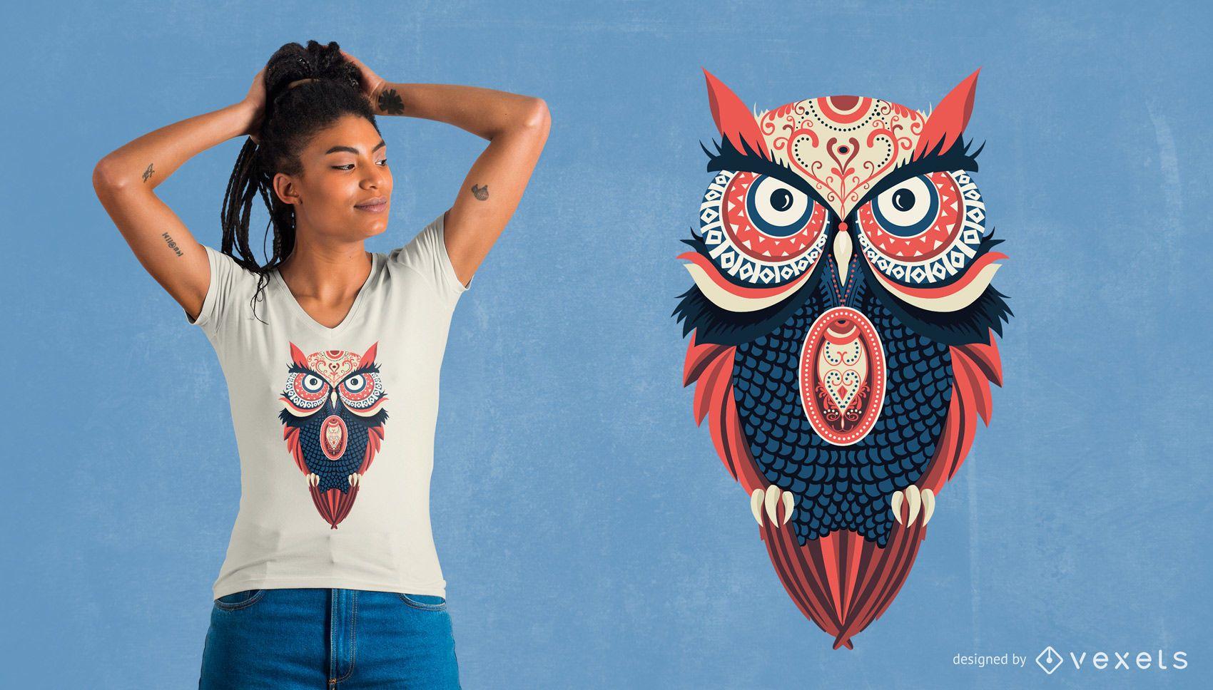 Mercadoria de design de camiseta colorida com coruja