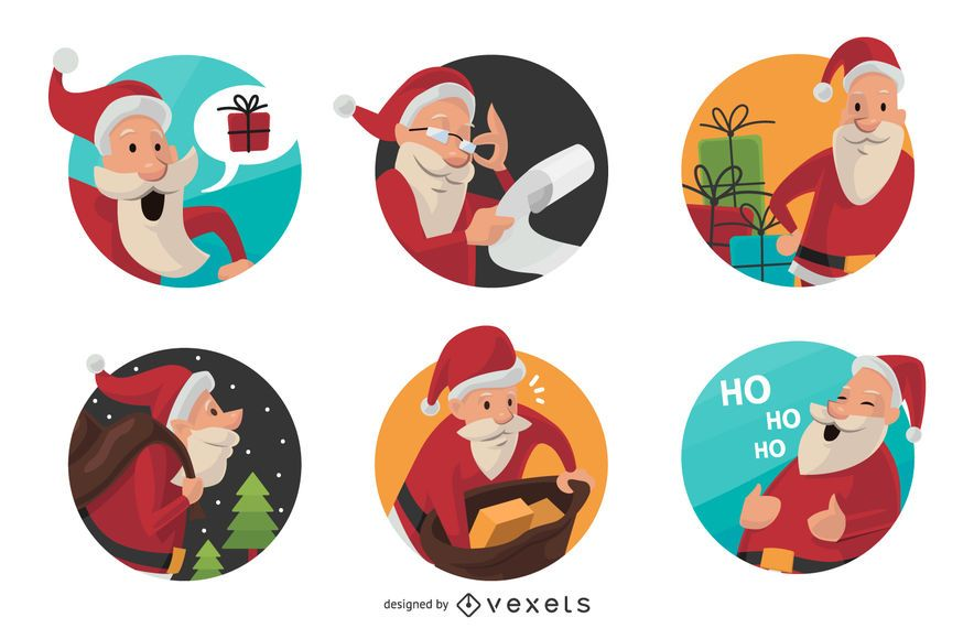 6 flat Santa Claus badges