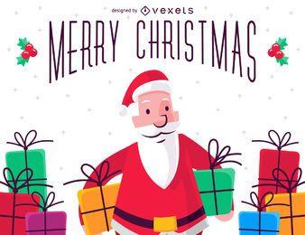 Ilustración de feliz navidad con santa claus