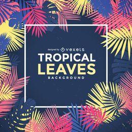 Quadro de folhas de palmeira tropical