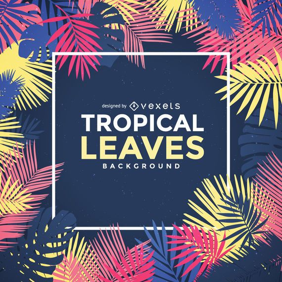 Tropical palm tree leaves frame