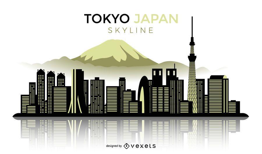 Silhueta do horizonte de Tóquio no Japão
