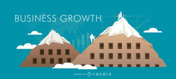 Ilustração de bandeira de crescimento de negócios