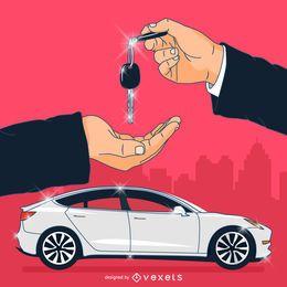 Ilustración de propiedad del concesionario de automóviles