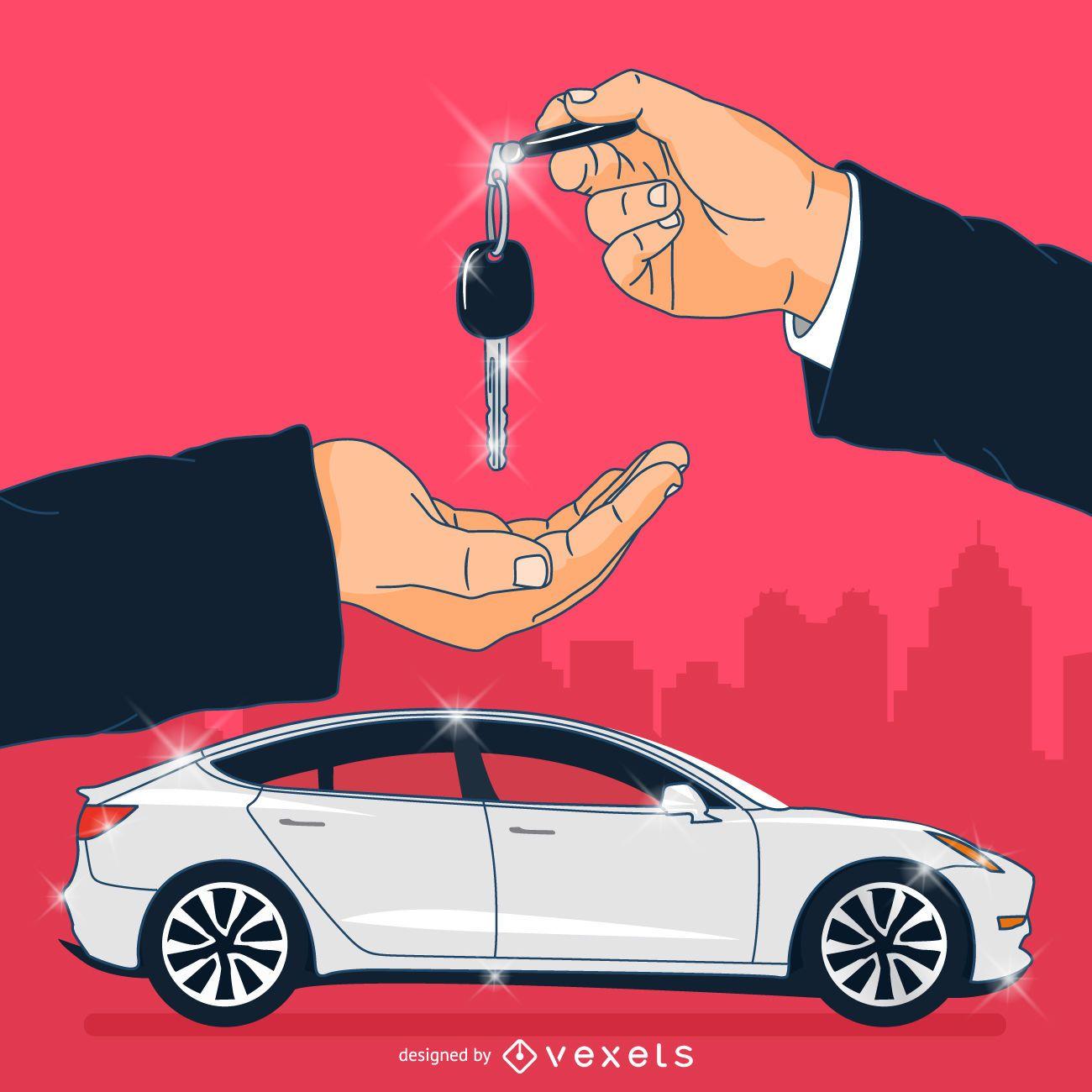 Car dealer ownership illustration