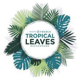 Marco de hojas de palmera tropical.