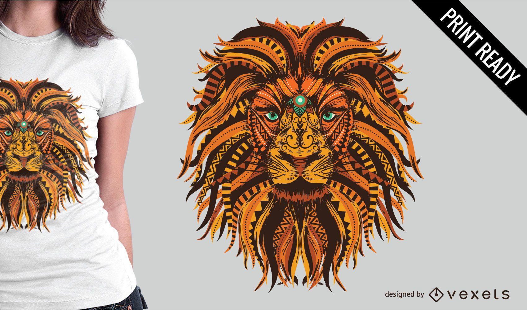 Design de camiseta com ilustração de mandala de leão