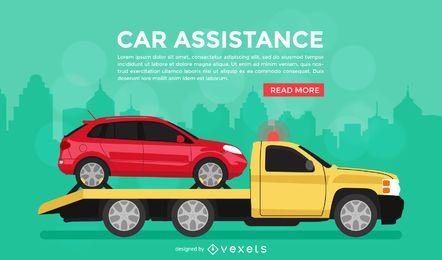 Cartel de banner de asistencia de coche