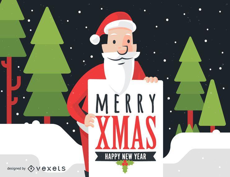 Papai Noel com Merry Xmas sinal ilustração