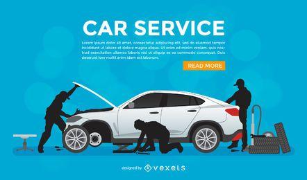Cartel promocional del servicio de reparación de automóviles.