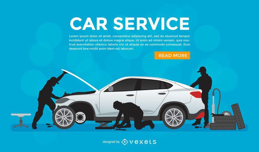 Cartaz promocional do serviço de reparo do carro