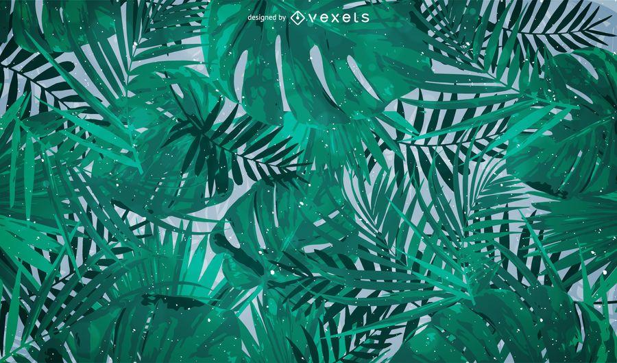 Fondo de hojas de palmera tropical