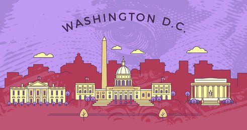 Flache Strich-Skyline von Washington