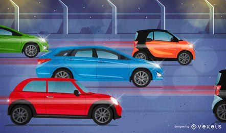 Ilustração de carros em uma estrada