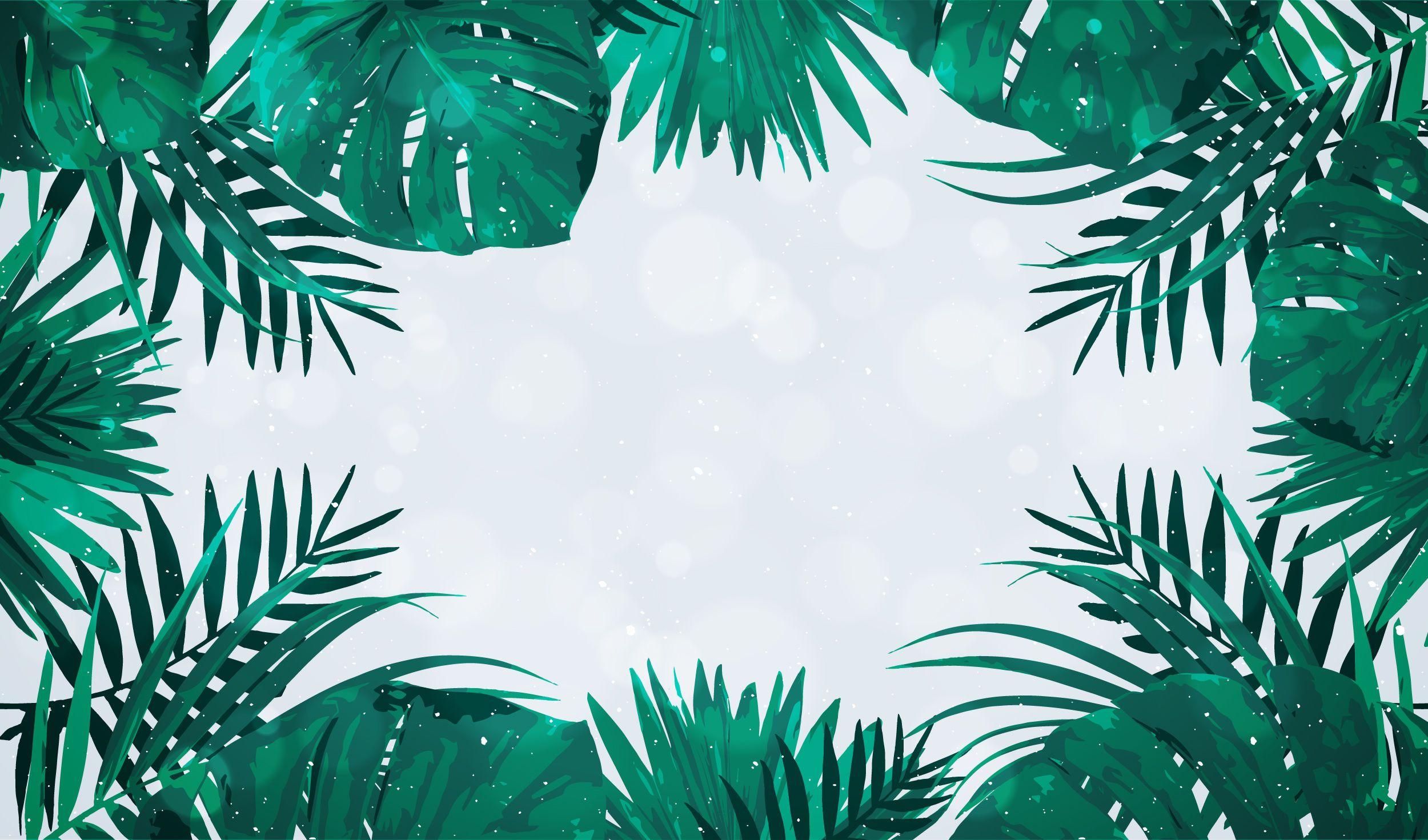 Palm tree leaves frame