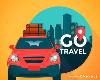 Travel illustration with car