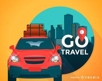Viagem, ilustração, com, car