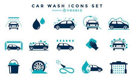Colección de iconos de lavado de autos