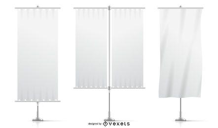 Conjunto de banderas de maqueta blanca