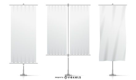 White mockup flags set