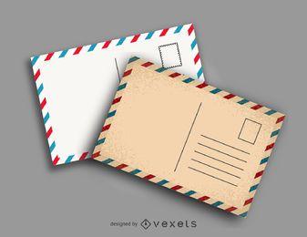 Ilustração do modelo de cartões postais