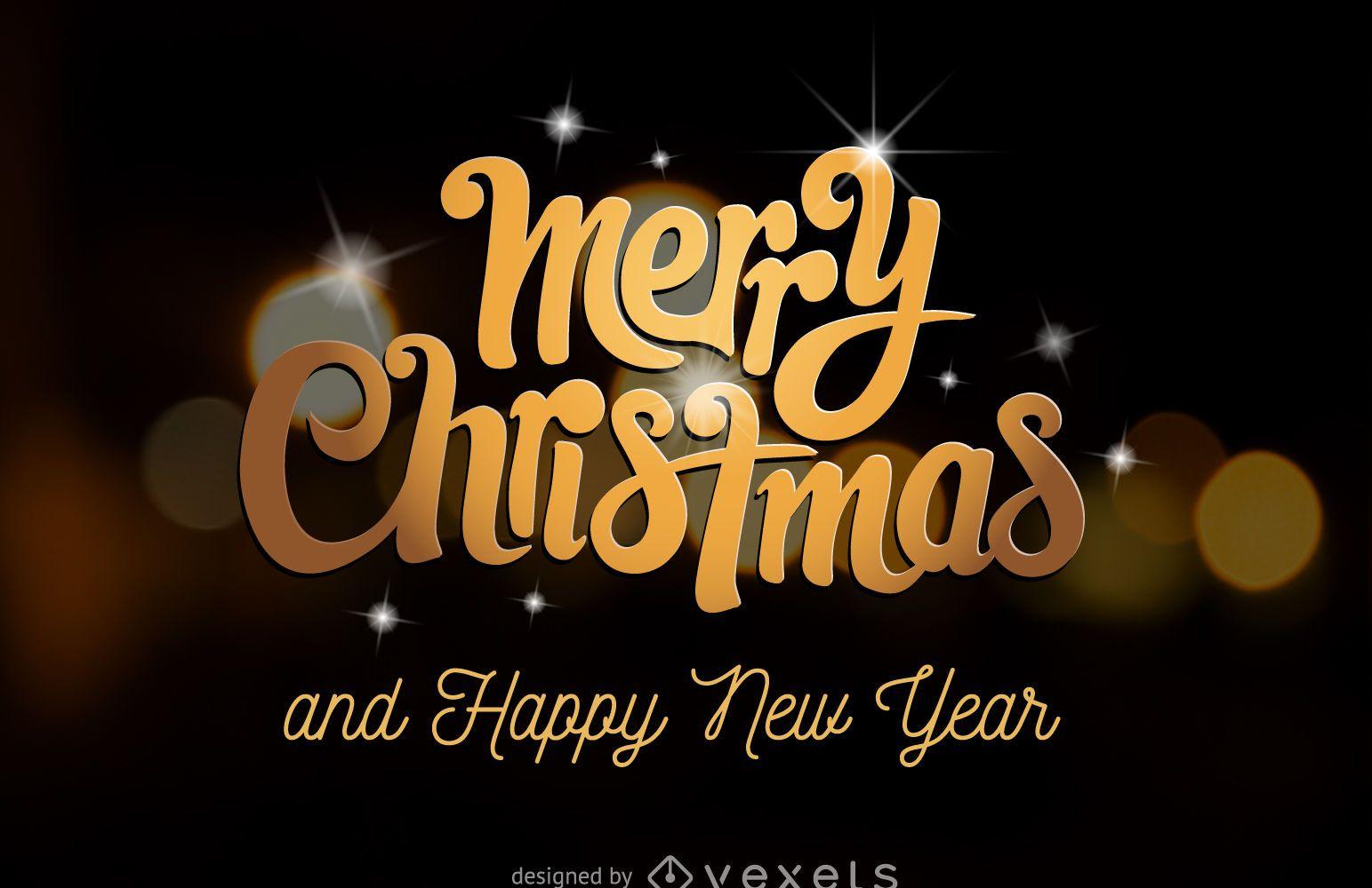 Feliz Navidad tarjeta de letras doradas