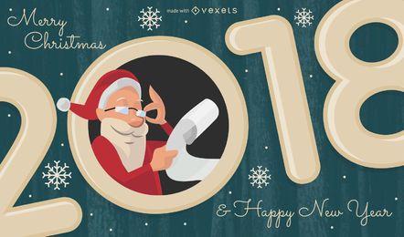 Férias em 2018 com o fabricante de ilustrações de Santa