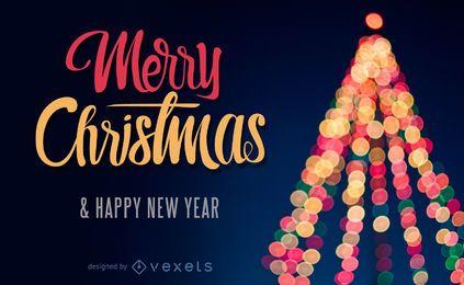 Design de Natal com uma árvore de Natal de bokeh