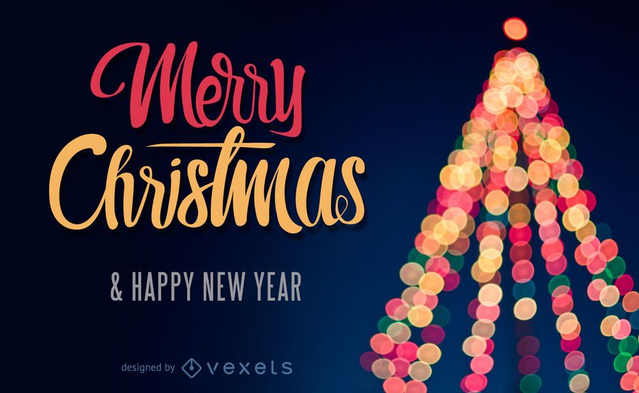 Diseño navideño con un árbol de navidad bokeh.