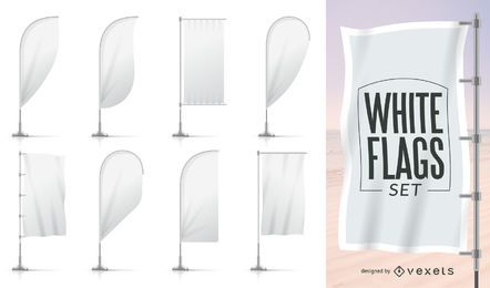 Collection of white flag templates