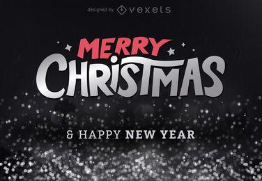 Design brilhante de feliz Natal com glitter