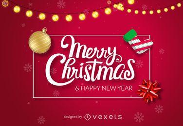 Diseño rojo brillante de feliz navidad