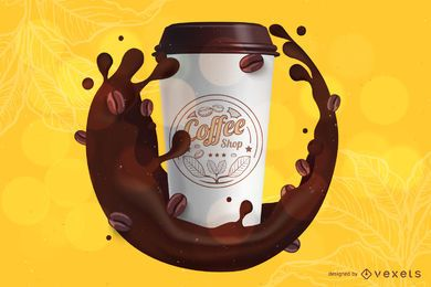 Kaffee Branding Modell Vorlage