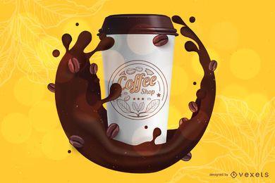 Modelo de maquete de marca de café