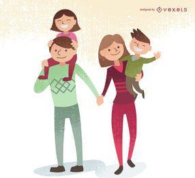 Ilustração familiar, com, crianças