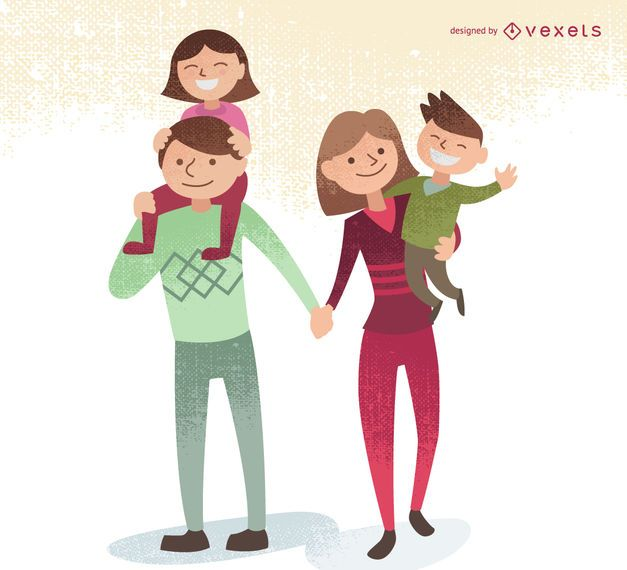 Family illustration with kids