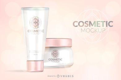 Maqueta de envases cosméticos rosa